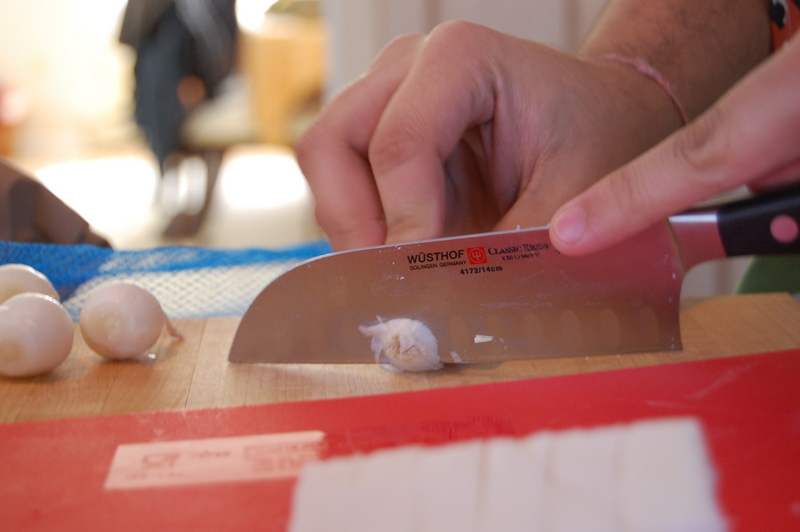 cutting pearl onions
